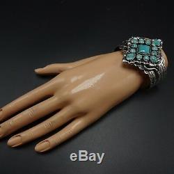 Vintage NAVAJO Hand Stamped Sterling Silver TURQUOISE Cluster Cuff BRACELET 62g