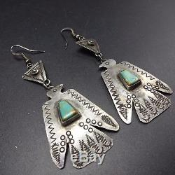 Vintage NAVAJO Hand Stamped Sterling Silver & TURQUOISE EARRINGS Thunderbirds