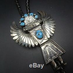 Vintage NAVAJO Hand-Stamped Sterling Silver TURQUOISE Eagle Kachina BOLO Tie