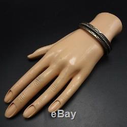 Vintage NAVAJO Heavy Gauge HAND-STAMPED Sterling Silver Cuff BRACELET 47.1g