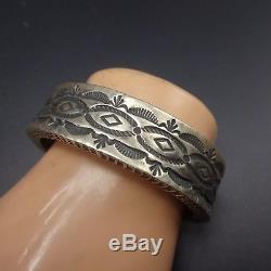 Vintage NAVAJO Heavy Gauge Hand Stamped Sterling Silver Cuff BRACELET 106g