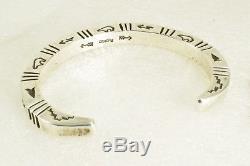 Vintage NAVAJO Heavy Gauge Hand-Stamped Sterling Silver Cuff BRACELET 41.8 Grams