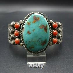 Vintage NAVAJO Sterling Silver TURQUOISE CORAL Cuff BRACELET Hand Stamped Inner