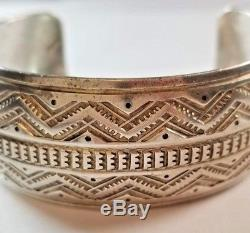Vintage Native American Dead Pawn Sterling Silver 925 Stamped Heavy Cuff V284