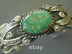 Vintage Native American Green Turquoise Stamped Sterling Silver Cuff Bracelet