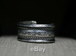Vintage Native American Navajo Hand Stamped Sterling Silver Cuff Bracelet