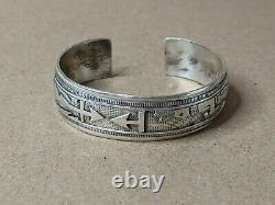 Vintage Native American Sterling Silver Stamped Story Telling Bracelet Navajo