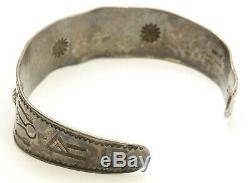 Vintage Navajo GARDEN OF THE GODS Sterling Silver Hand Stamped Cuff Bracelet 925