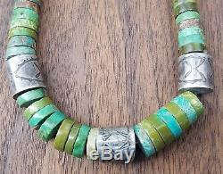 Vintage Navajo Hand Stamped Sterling Silver Turquoise Heishi Bead Necklace 88 G