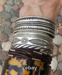 Vintage Navajo Heavy MGD LLT Heavy Stamped Sterling Silver Cuff Bracelet