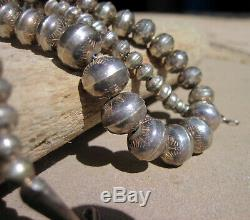 Vintage Navajo Pearls Hand Stamped Sterling Silver Graduated Bead Necklace 24