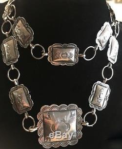 Vintage Navajo Stamped Silver Concho Belt 63 Grams Estate Find Gorgeous