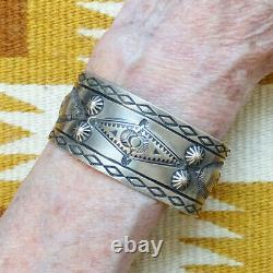Vintage Navajo Sterling Silver Cuff Bracelet Whirling Logs Stamp Work Buttons