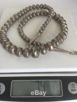Vintage Navajo Sterling Silver Graduated Hand Stamped Beaded Pearl Necklace 24