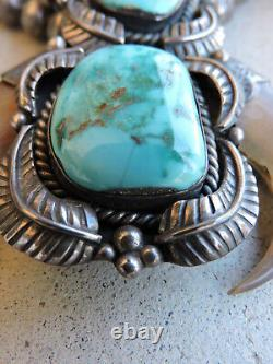 Vintage Navajo Sterling Silver Turquoise Bear Claw Choker Necklace Stamped JH