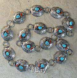 Vintage Navajo Sterling Silver Turquoise and Coral Stamped Concho Belt
