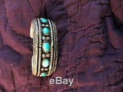 Vintage Navajo indian OldPawn SS Silver & Turquoise stamp work Bracelet Cuff
