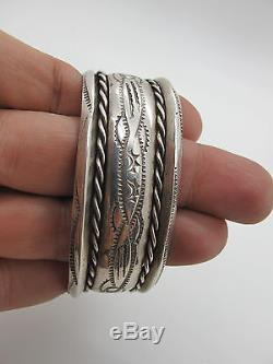 Vintage Old Pawn Navajo Sterling Silver Cuff Bracelet with Stamping 43.7g