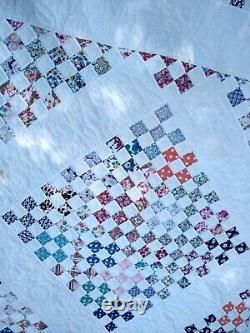 Vintage Patchwork Postage Stamp Quilt-Hand Pieced/Hand Quilted-Barely Used-81x80