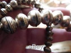 Vintage Sterling Silver Navajo Pearl Bench Bead NECKLACE 24L Stamped 37.6 Grams