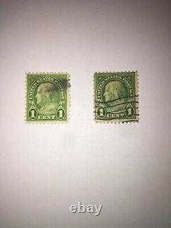 Vintage US 1 Cent Benjamin Franklin 2 Stamp Rare