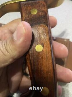 Vintage Western Large Bowie Knife W49 Stamped M WRosewood Handle WithSheath New
