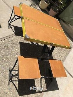 Vintage Yellow Folding Picnic Table & Chair Set Milwaukee Stamping Co