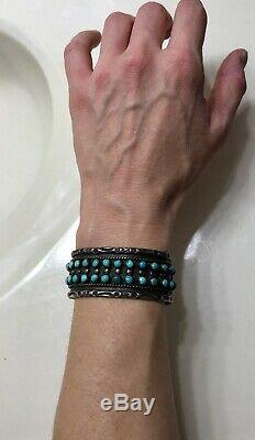 Vintage ZUNI Sterling Silver Double Row Snake Eye TURQUOISE Cuff Hand Stamped
