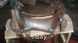 WWI M1904 Era McClellan Cavalry Saddle with hooded US stamped stirrups