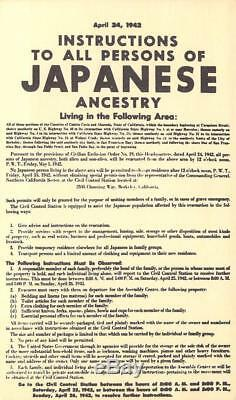 WWII Rare Find Notice Japanese Evacuation for Internment Camps, Oakland, Ca