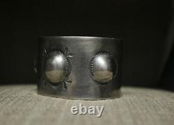 Wide Heavy Native American Navajo Stamped Design Sterling Silver Cuff Bracelet
