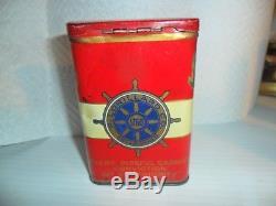 Yacht Club Smoking Tobacco Vertical Tin 1910s era FAIR CONDITION NO STAMP LEFT