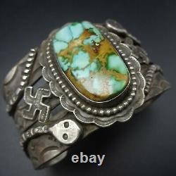 ZUNI Hand-Stamped Sterling Silver DAMELE TURQUOISE Cuff BRACELET Whirling Logs