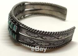 Zuni Old Pawn Stamped Sterling Silver Turquoise 2 Row Petit Point Cuff Bracelet