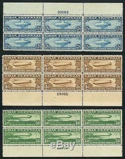 #c13-c15 Graf Zeppelin Plate Block Set Vf+ Og Nh CV $17,000++ Wlm4000